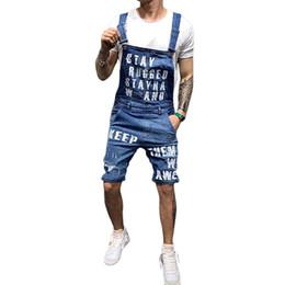 Pantaloni pantaloni online-Yiwa Fashion Suspender Pantaloni Uomo Lettera Stampa Pantaloni Suspender Bottoni jeans aperti gamba dritta pantaloncini per il tempo libero