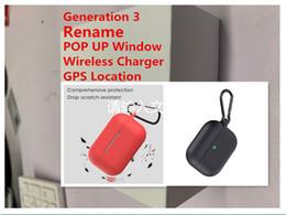 Hasta auriculares online-Un auricular de Pro Generación 3 del caso del cargador inalámbrico Auriculares Con POP UP ventana del oído GPS Renombrar función Bluetooth Auriculares Reducción Noice