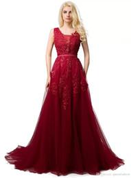 2019 Real Borgonha Prom Vestidos Decote V Sem Mangas Uma Linha Até O Chão Apliques de Renda Com Pérola Macio Tulle Vestidos de Formatura Noite de