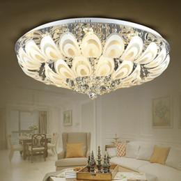 Illuminazione a soffitto tonda online-Lampadari di cristallo rotondi moderni Lampada da incasso a soffitto E27 Led in acciaio inossidabile Lustre Lampade a sospensione Lampade colorate Illuminazione interna
