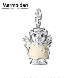 wholesale fairy charms Promo Codes - Fashion Women Jewelry Angel Bear 925 Sterling Silver Charm Fit Chain Ahiny Butterfly Fairy Necklace for Girls Birthday Gift