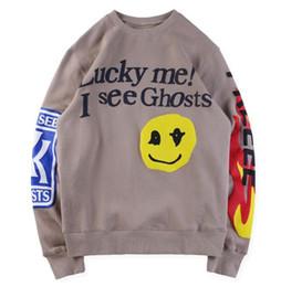 Pullover für kinder online-Kanye West Kids See Ghosts I Feel Ghosts Printed Pullover Mens Womens Casual Sweatshirts Weiß Khaki Hip Hop Designer Pullover