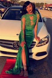 Canada Green Velvet Prom robes manches longues paillettes appliques corsage longue robe de soirée pour les filles noires robe de soirée Offre