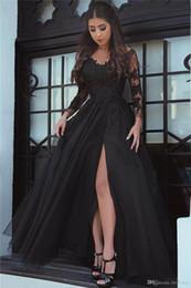 il merletto lungo si srotola indietro Sconti 2018 New Design Appliques di pizzo Illusion Slit Abito da sera Open Back Formal Party Gown manica lunga Prom Dresses