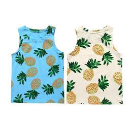 2019 camisetas de algodón para niñas Toddler Baby Boy Girl Camisetas sin mangas Camiseta de algodón Verano Piña Imprimir Camiseta Chaleco rebajas camisetas de algodón para niñas