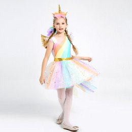 2019 grünes renaissance kleid Kinder Mädchen Regenbogen Einhorn Kostüm für Mädchen Prinzessin Halloween Karneval Geburtstag Party Kleid Cosplay Kostüme