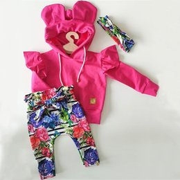 chapéus bola de futebol Desconto Infant Baby Girl Clothes Sets 0-24M Floral Print Hooded Pullover Tops Pants Headband Outfits Set Clothes