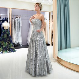 fd124ed08b netted prom dress Promo Codes - Unique Prom Dresses Thin Net Tube Top  Beaded Sequins Zipper