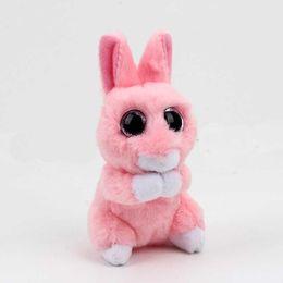 Gli occhi rosa beanie online-beanie boos big eyes peluche berretto bimbi Kawaii Pink Rabbit Peluche bambola peluche bambino regalo di Natale compleanno gif