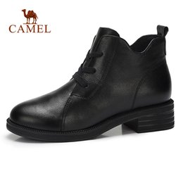 365979039b0b CAMEL Spring Women Casual Ankle Short Boots Women Soft Retro Martin Short  Boots For Ladies Genuine Leather Low Heel affordable camel toe women