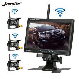 camara coche toyota rav4 Rebajas Jansite cámara inalámbrica de camiones de 7 pulgadas para los carros autobús RV remolques imagen Excavadora monitor del revés del coche de 12V-24V cámara de visión trasera