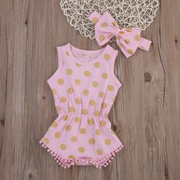 polka dot baby bodysuit Coupons - Baby Girl Gold Polka Dot Bodysuit Pom Pom Romper Jumpsuit Outfits Set Clothes