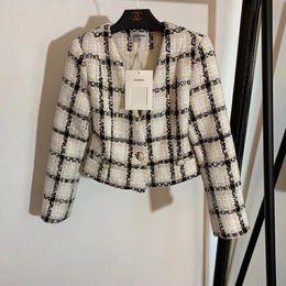 Твидовые зимние пальто онлайн-женская куртка осень-зима пальто Тонкий тонкий клетчатый твидовое пальто повседневная с длинным рукавом с V-образным вырезом короткая куртка с карманом свободные пиджаки