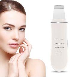 Deutschland Hot Ultrasonic Ion Face Skin Scrubber Wiederaufladbarer Gesichtsreiniger Reinigungsspatel Peeling Vibration Mitesser Entfernungsgerät cheap vibration cleaning Versorgung