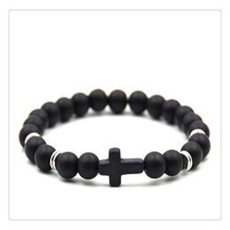 Unisex Fashion Elegante Kreuz Perlen Armband Einfache Elastizität Handkette Naturstein Schmuck Charm Perlen Armband Multi Farbe 2019 von Fabrikanten