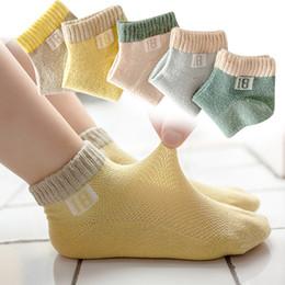 Kinder socken großhandel online-Kinder Sport Socken Kinder Großhandel Sommer Baumwolle ultradünne Mesh atmungsaktiv rutschfeste unsichtbare Bootssocken Söckchen 1-12 Jahre alt