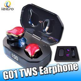 2019 auriculares de bajo pesado G01 TWS Earbuds Binaural Bluetooth 5.0 Headphones Touch Waterproof True Wireless Stereo Heavy Bass Earphone Auriculares deportivos con micrófono izeso auriculares de bajo pesado baratos