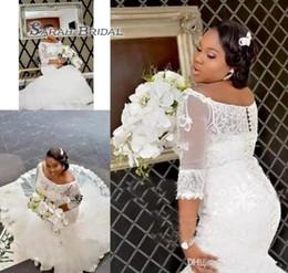 2019 nigerian casamento vestido costume Sul Africano Nigeriano Rendas Apliques Sereia Vestido de Noiva Fora Do Ombro Longo Da Igreja Do Jardim Da Noiva Vestido De Noiva Custom Made Plus Size nigerian casamento vestido costume barato