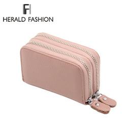 Haufen Brieftaschen Herald Fashion Frauen Echtes Leder Unisex Visitenkartenhalter RFID Brieftasche Bank Kreditkartenetui ID Inhaber Frauen ... von Fabrikanten