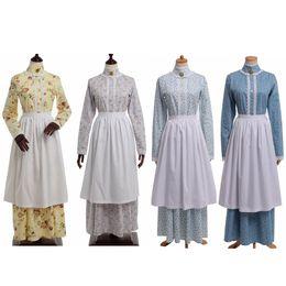 2019 mulheres vestido colonial Mulheres Vintage Estilo Francês Floral Vestido Colonial Do Século 18 Histórico Azul Avental de Manga Longa Bonnet Costume Set