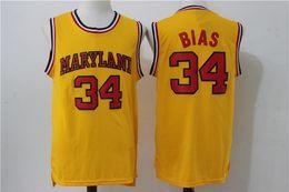 NCAA # 34 Leonard Bias Camiseta de baloncesto de Maryland Terrapins para hombre, blanco, rojo, amarillo, bordado, bordado, cosido, camisetas deportivas desde fabricantes