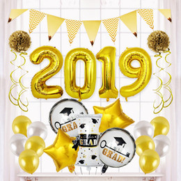 silver aluminum foil Promo Codes - Graduation Ceremony Aluminum Foil Balloon Set Gold Silver Latex Balloon Number Balloons 2019 Graduation Season Party Decoration DBC VT0249