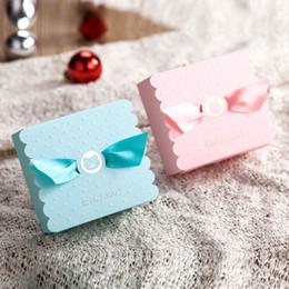 Kundenspezifisches Logo 90x90x45m 100pcs Blau Rosa Kleine Kaninchen Und Baby Baby Mädchen Entwurf Mini Süßigkeit Geschenk Verpackung Box Für