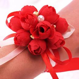 2019 corsage armbänder großhandel Rose Künstliche Braut Blumen Armbänder Perle Floral Handgelenk Corsage Einstellbar für Hochzeit Dekoration Zeremonie Party Großhandel günstig corsage armbänder großhandel