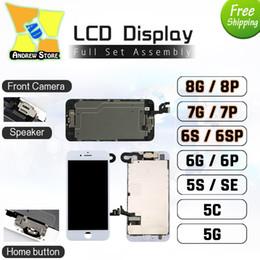 оптовые телефоны для повышения Скидка Высокое качество для iPhone 8 P 7 P 6 S P 5 S ЖК-дисплей полная сборка фронтальная камера-динамик-главная кнопка тестирование замена Бесплатная доставка