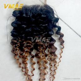Ombre 1b 4 27 Brezilyalı frontal dantel Saç Ombre Sapıkça Kıvırcık Kapatma Ombre 3 Ton Derin Culry İnsan Saç Ücretsiz Bölüm Dantel Kapatma nereden