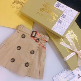 2019 al por mayor chicas tutus pettiskirts 2019 Vestidos de niña de verano para niños ropa para niñas Otoño estilo británico de doble botonadura falda con cinturón de calidad superior ropa de niña bebé AB-1