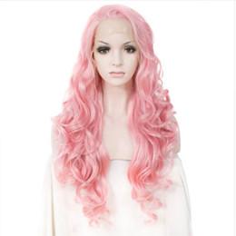Недорогие розовые длинные парики онлайн-Glueless Синтетические Волосы Фронта Шнурка Длинный Волнистый Розовый Mix Парик Дешевые Жаропрочных Высокого Волокна Для Женщин