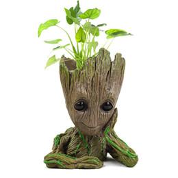 Groot Planter Figuras de Ação Vaso De Flores Baby Tree Man Modelo Brinquedo Para Crianças Caneta Titular Jardim Criativo Plantador De Flores Pote de Anime baubles Herói de