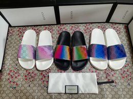 sandalias negras gruesas talon Rebajas Hombres Mujeres Zapatos de diapositivas sandalias de diapositivas de lujo de diseño de moda de verano plano ancho resbaladizo con densamente las sandalias del deslizador de las chancletas tamaño 36-45