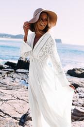 Abiti di tunica di kaftan online-Rayon di bianco Beach Abito lungo Swimwear Tuniche caftano Beach Dress Beachwear Cover Up robe de Plage Saida De Praia