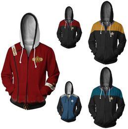 niños abrigo estrellas Rebajas Star Trek cosplay del traje con capucha Sudaderas cremallera con capucha Hip Hop Casual Top chaquetas capa uniforme de vestuario Hombres Niños Mujeres