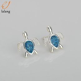 cute womens jewelry Promo Codes - Cute Fashion Turtle Fire Opal Stud Earrings Womens Silver Jewelry Gifts Tortoise Ear Stud Earring