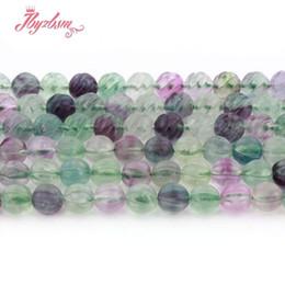 contas soltas de pedra natural 8mm Desconto 8mm Rodada Esculpida Multicolor Fluorita Natural Stone Beads Para Colar DIY Pulseira Jóias Fazendo Presente Solto 15