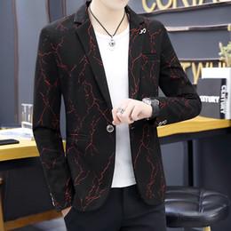 modèle de veste coréenne Promotion 2019 Printemps Impression Hommes Veste Blazer Masculino Homme Blazer Hombre Nouveau Modèle Mode Loisirs Coréen Slim Fit Manchon Costume Noir