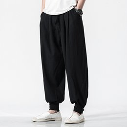 7a16e4946a2 Harem Pants Men Spring Cotton Linen Loose Casual Chinese Style Trousers  Male Solid Color Wild Vintage Plus Size Full Length