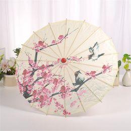 Chinesisches malpapier online-Mnycxen Kunst Regenschirm Chinesischer Seidenstoff Regenschirm Klassischer Stil Dekoratives Öl Papier Gemalt Sonnenschirm A20
