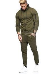 Ropa de brazo online-Hombres Chándal Traje deportivo Traje con cremallera Decoración Gimnasio Pantalones largos 2pcs Conjuntos de ropa para la venta