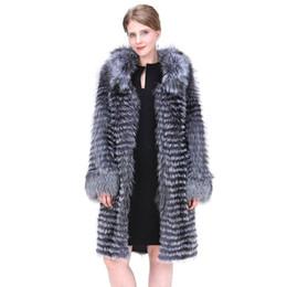 Casacos de inverno mulheres extra longas on-line-Mulheres Natural Fox Casaco De Pele 2018 Moda Estilo Inglaterra Inverno Quente Grosso Prata Real Fox Fur Casaco Extra Longo Senhora casaco