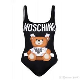 Lindo bikini de moda online-Cute Bear Girls Bikinis de verano de moda de alta elasticidad mujeres monos INS personalidad sin espalda femenina trajes de playa