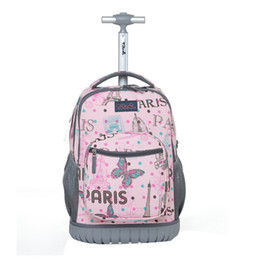 wheeled trolley backpacks Coupons - Children Trolley School Bags Kids Trolley Backpack 18 Inch Travel Luggage Backpack With Wheels Rolling For Girls
