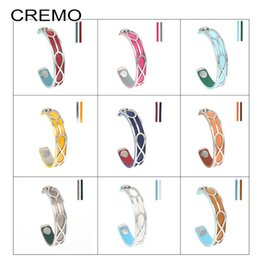 2019 austauschbares manschettenarmband Cremo Edelstahl Manschette Armband Infinity Armbänder Armreifen Jonc Bijoux Femme Austauschbare Lederarmbänder günstig austauschbares manschettenarmband