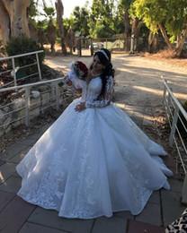 2019 vestito da cerimonia nuziale moderno stratificato di tulle 2020 arabo Aso Ebi Plus Size lussuosa pizzo in rilievo abiti da sposa a maniche lunghe sfera degli abiti da sposa d'epoca Abiti da sposa ZJ321