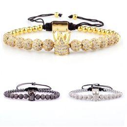 2019 bracelet en agate blanche en argent 6mm Naturel Blanc Howlite Mat Agate Pierre Alliage Perles Or Et Argent Plaqué Couronne Tressé CZ Bracelet bracelet en agate blanche en argent pas cher