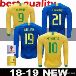 Calidad tailandesa nuevo Brasil Hogar lejos Manga larga Futbol Camisa camisetas  de fútbol LS Fútbol Camiseta Brasil HOMBRE camisa adulto Maillot envío ... 6ac754f8346ae