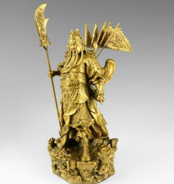 "statues de guerrier en bronze Promotion Bronze chinois laiton Nine Dragon Guerrier Guan Gong / Yu Statue Figure10 ""H Jaune Sculpture en gros usine Bronze"